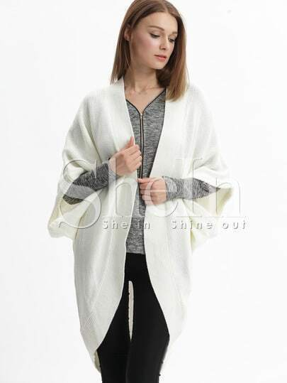 White Collarless Batwing Sleeve Cardigan
