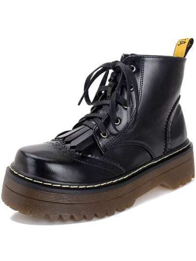Black Round Toe Pierced Thick-soled Ankle Boots