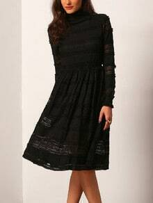 Black High Neck Lace Slim Dress