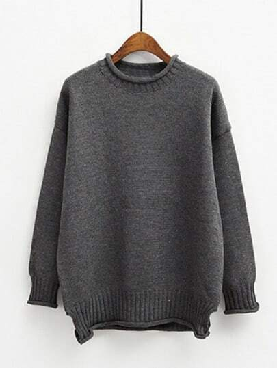 Grey Round Neck Crimping Loose Sweater
