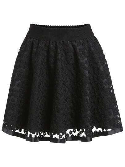 Black Embroidered Lace Flare Skirt