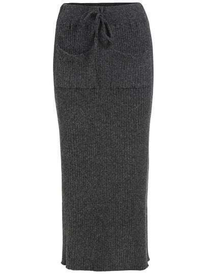 Grey Drawstring Waist Pockets Sweater Skirt