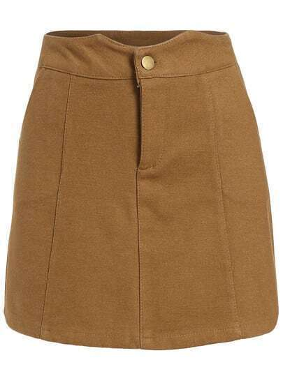 khaki pockets a line skirt shein sheinside