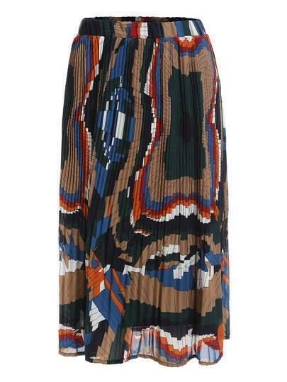 Плиссированная юбка с геометрическим принтом