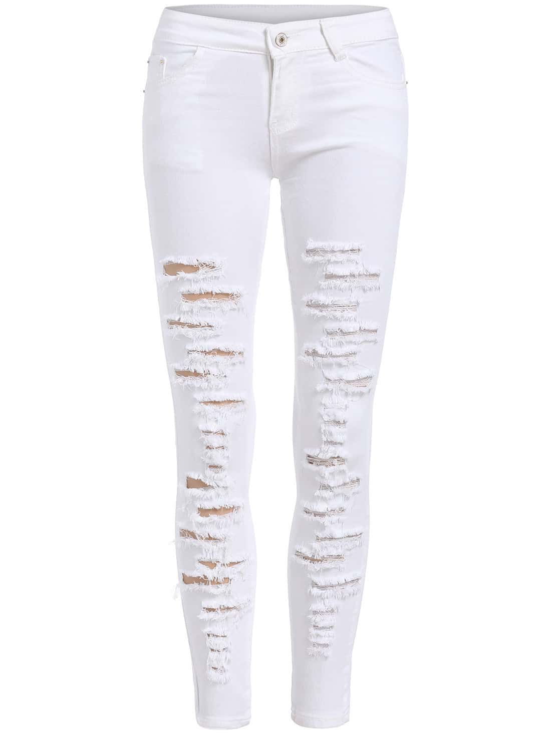 White Skinny Ripped Denim Pant