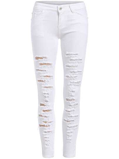 Pantalón skinny rotos denim -blanco