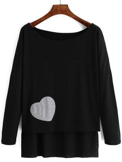 Black Heart Pattern Dip Hem T-Shirt