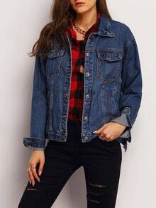 Blue Lapel Long Sleeve Denim Jacket