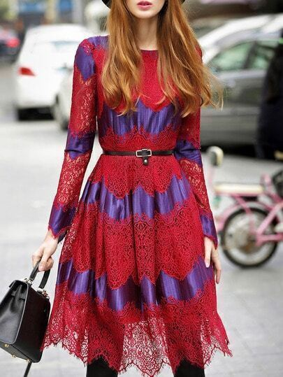 Red Round Neck Long Sleeve Drawstring Lace Dress