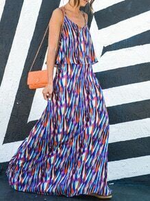 Blue Spaghetti Strap Layer Boho Maxi Dress