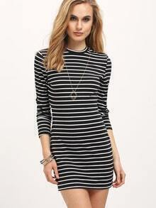 Black Striped Bodycon Dress