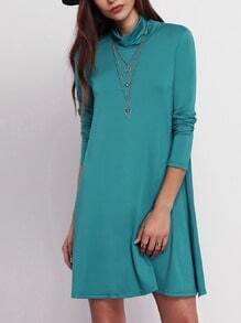 Green Cowl Neck Shift Dress