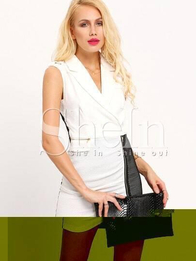 White Color Block Sleeveless Business Dress