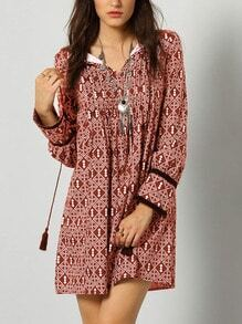 Burgundy Tribal Print Shift Dress