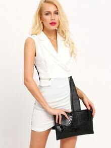 White Color Block Sleeveless Business Dress