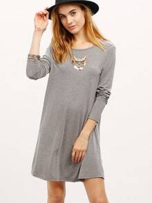 Grey V Back Shift Dress