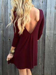 Burgundy V Back Shift Dress