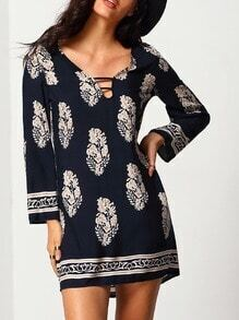 Navy Aztec Print Shift Dress