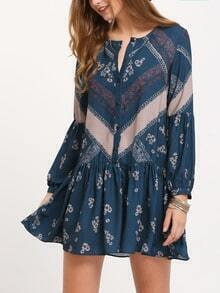 Navy Folk Print Drop Waist Dress