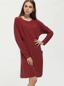 Orange Striped Pockets Tshirt Dress