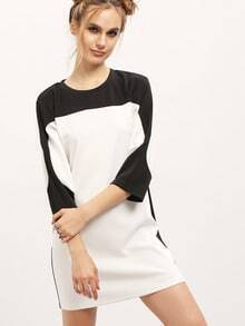 White Color Block Crew Neck Shift Dress
