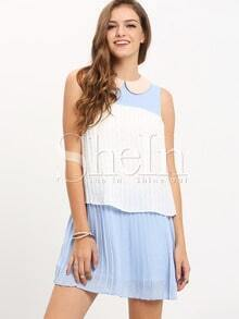 Blue Peter Pan Collar Color Block Layer Pleated Dress