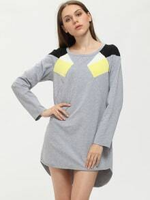 Grey Crew Neck Patchwork Shift Dress