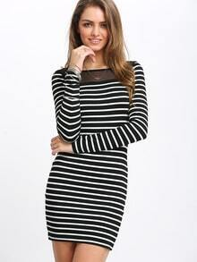 Black Striped Mesh Bodycon Dress