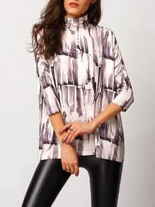 Mock Neck Abstract Print Blouse