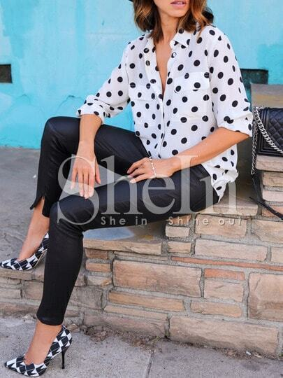 White Polka Dot Pockets Blouse pictures