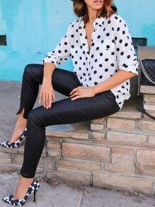 White Polka Dot Pockets Blouse