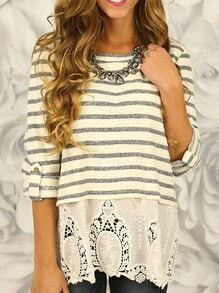 White Striped Embroidered Hem Blouse