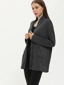Black Gliter Ribbed Pockets Coat