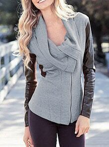 Grey Color Block Cowl Neck Coat