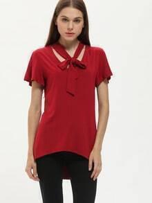 Burgundy Tie Neck Flutter Sleeve T-Shirt