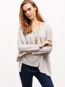 Grey Side Slit Asymmetric T-Shirt