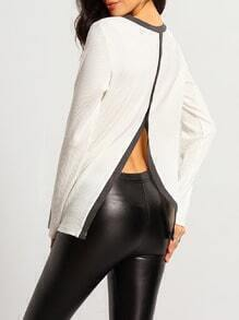 White Color Block Trims Slit Back T-Shirt