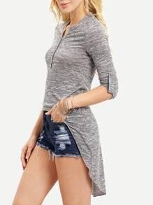 Grey Adjustable Sleeve High Low T-Shirt