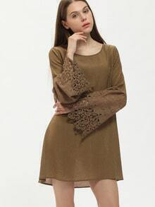 Army Green Bell Sleeve Lace Cuff Dress