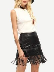 Black PU Leather Fringe Hem Skirt