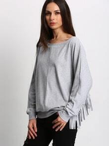 Grey Wide Neck Fringe Sweatshirt