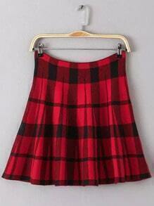 Red Plaid Flare Skirt