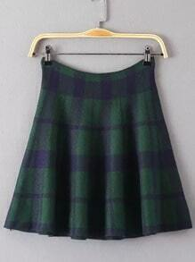 Green Plaid Flare Skirt