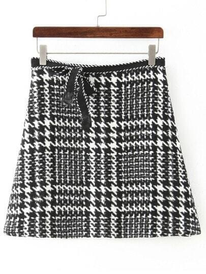 Black White Houndstooth Bow Skirt