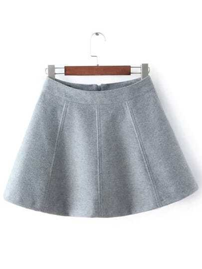 Grey Zipper Flare Skirt