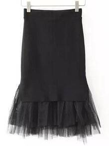 Black Sheer Mesh Hem Slim Skirt