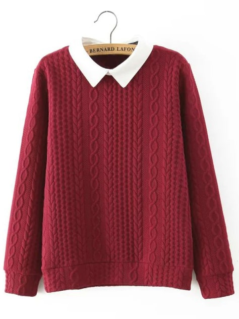 Red Contrast Collar Cable-knit Sweater