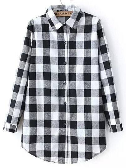Black White Long Sleeve Plaid Blouse