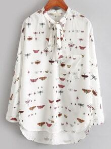 White Tie-neck Insect Print Loose Blouse