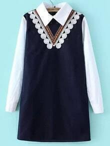 Navy Lapel Embroidered Straight Dress